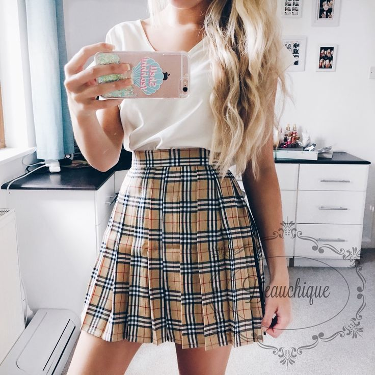 Image of VINTAGE STYLE 90s CHECK PLAID OLIVE TENNIS SKIRT
