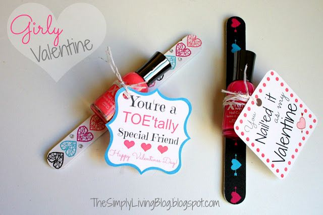 Simply Living : A Girly Valentine...great for girls to give their besties or change the wording and a teacher would love a great red or pink shade of nail polish.