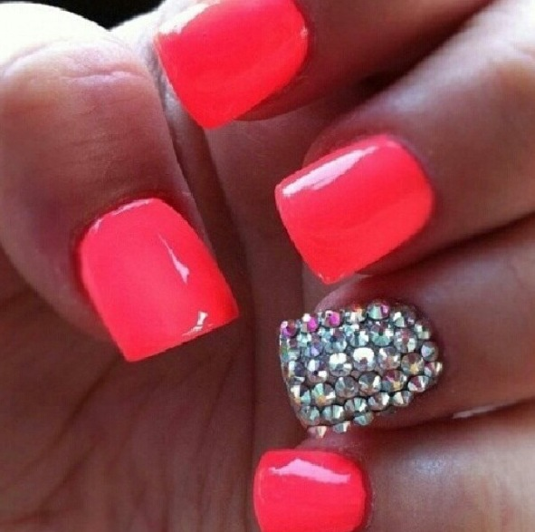 I did my nails like this 2 days ago the orange really brings out my skin tone but the jewls diddent really look the same they were littler