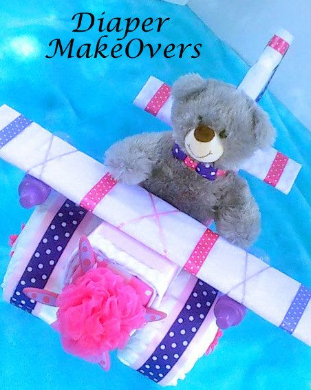 Unique Baby Girl Diaper Cake  Airplane Diaper by DiaperMakeOvers