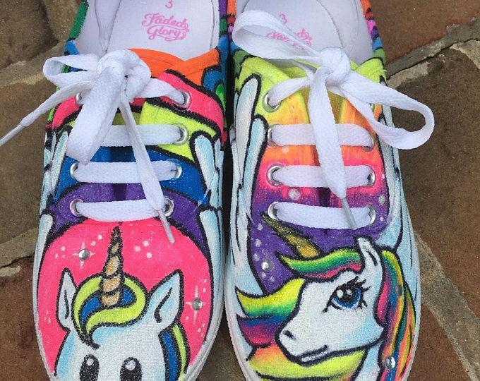 Rainbow Unicorn Shoes #greenglittershoes