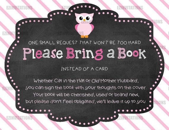 Pink Chalkboard Owl Book Request cards. INSTANT DOWNLOAD!!! You print for much less than you can buy invitations for! EZinvitations!!! Book Request