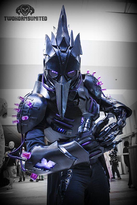 La peste negra oscura doctor anti-peste futurista cyberpunk/sci-fi LIGHT UP armadura traje traje teatral