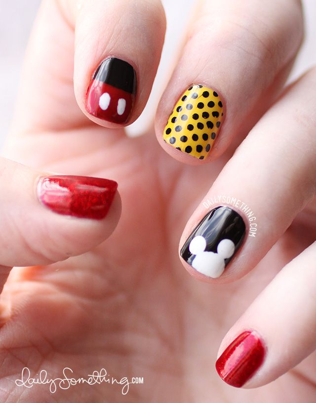 Mickey Inspired Nails. Index Finger: OPI Black Onyx with Dior Red Royalty on the tip. Then I used a dotting tool to add Mickey's buttons with OPI Alpine Snow; Middle Finger: Obsessive Compulsive Comsetics Taxi with Cheeky CH6 plate stamped in Konad Special Polish in Black; Ring Finger: OPI Black Onyx. Then I used a dotting tool to add a Mickey shape using OPI Alpine Snow; Pinky & Thumb: China Glaze Ruby Pumps