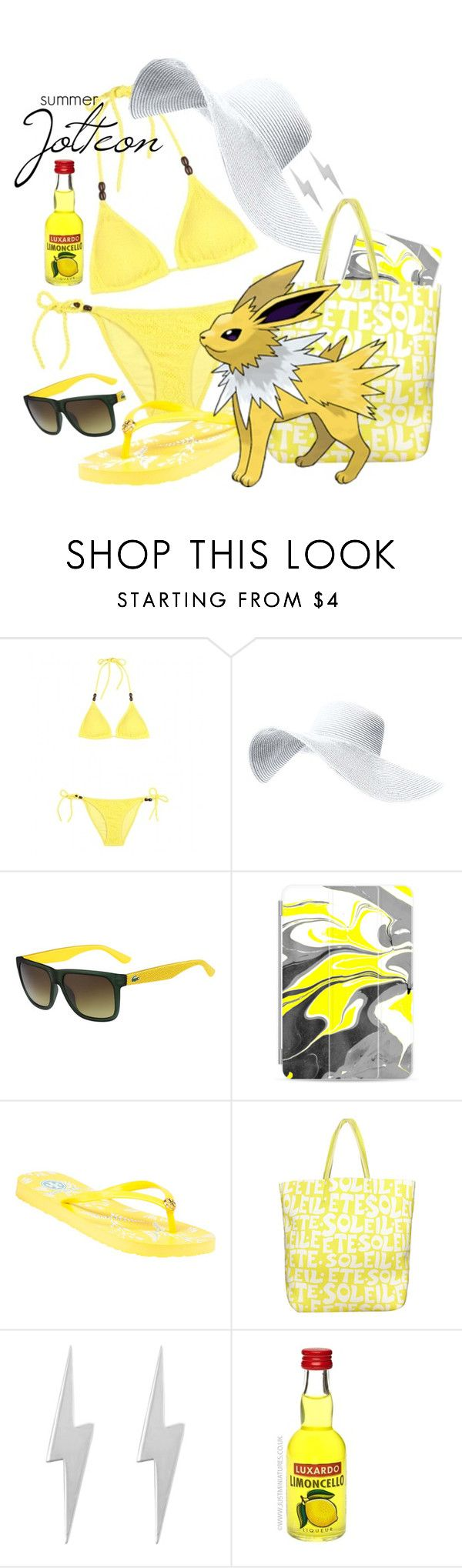 """""""Pokemon Beach: Jolteon"""" by freezespell ❤ liked on Polyvore featuring Heidi Klein, Lacoste, Casetify, Tory Burch, Glamourpuss NYC and Edge Only"""