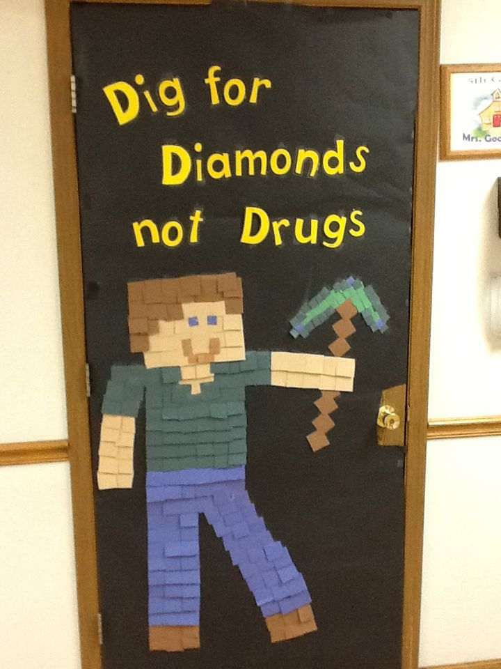 Classroom Door Decoration Ideas For Halloween ~ Minecraft red ribbon week door decoration th grade