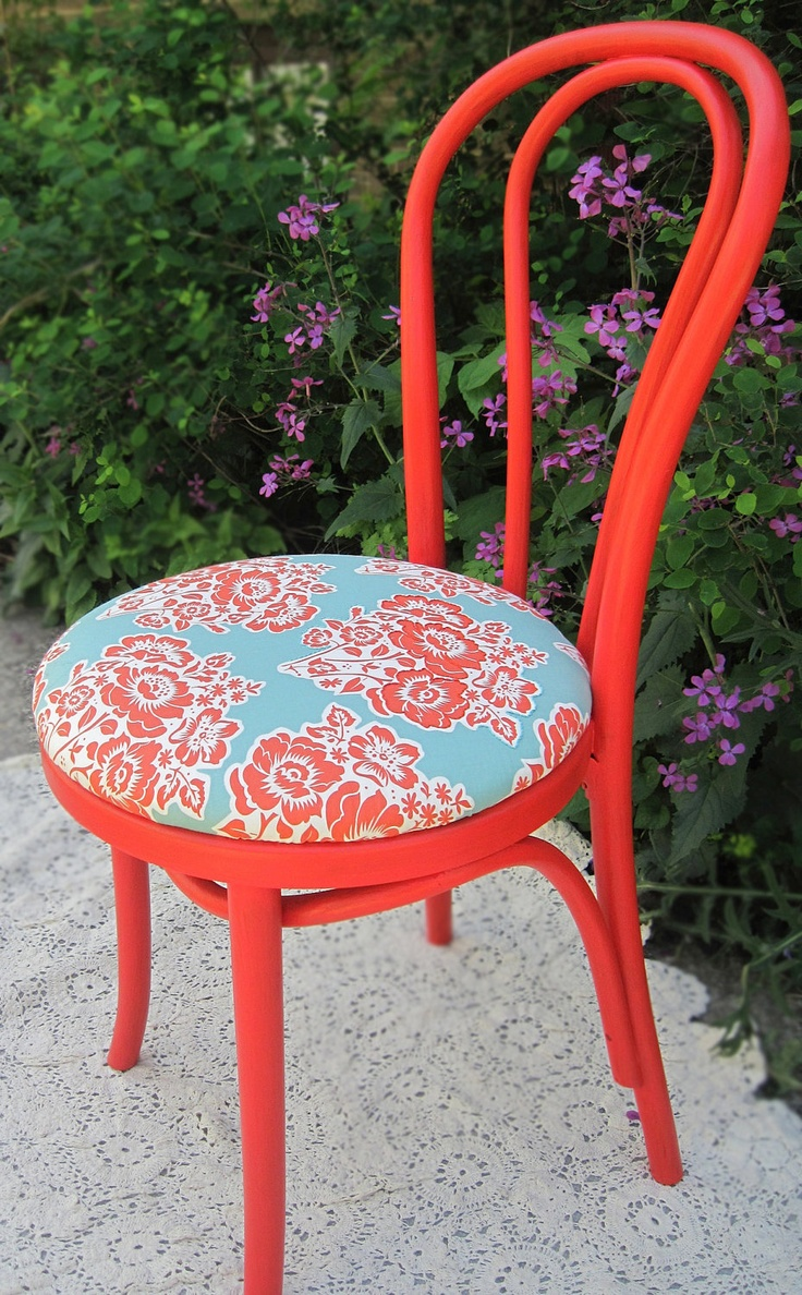 Red Bent Cane Bistro Chair with Floral Detail by HeatherLVarady Etsy $60- DIY 2 coordinating chairs in girls' room