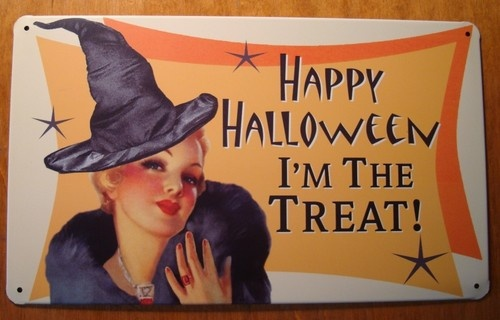 Fun Vintage Style Retro Halloween Pin Up Girl Witch Decor Sign I'M The Treat | eBay