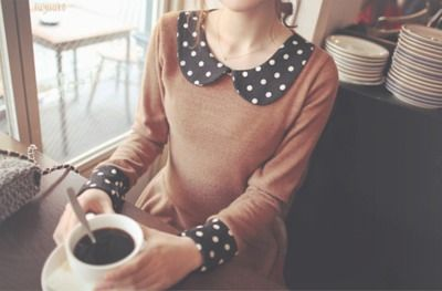 Polka dot collar and cuffs. Update vintage or add to knit item for texture difference.