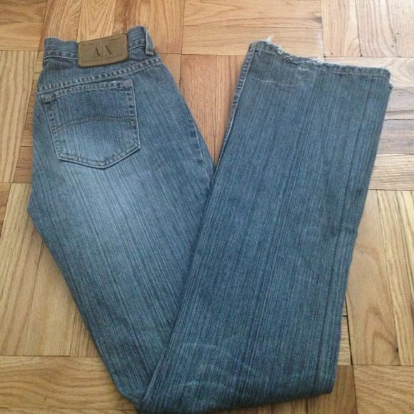 "Armani Exchange Jeans Sz. 6 Reg. 31"" /32"" inseam (from crouch to end of leg). Great straight leg jeans, a little bit of shredding at the back of leg from heels. Pictures show, price indicates. A/X Armani Exchange Jeans"
