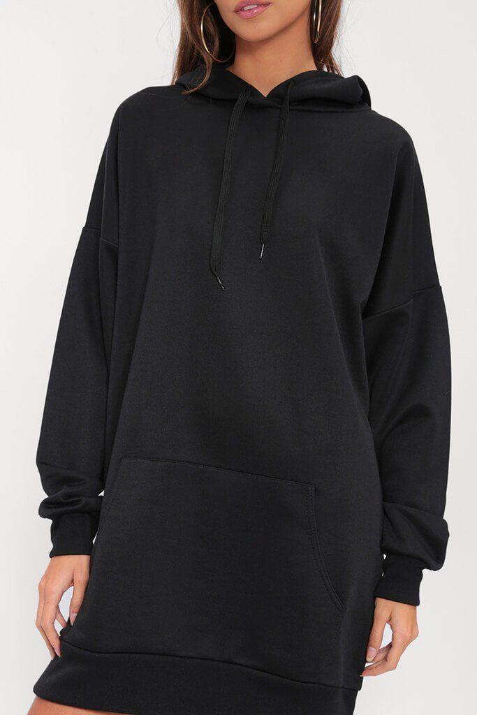 Oversized Hoodie Dress (Black)   Rani