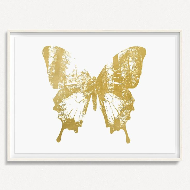 """Butterfly with Forest Wings 2 - Gold - 36"""" H x 48"""" W Floated and Dry Mounted - Gold Leaf Foil on Fine Art Paper  White Wash - Wood Ash Frame #artsquaredinc #art #design #gold #goldleaf #artandnature #ButterflyForest #butterflyart"""