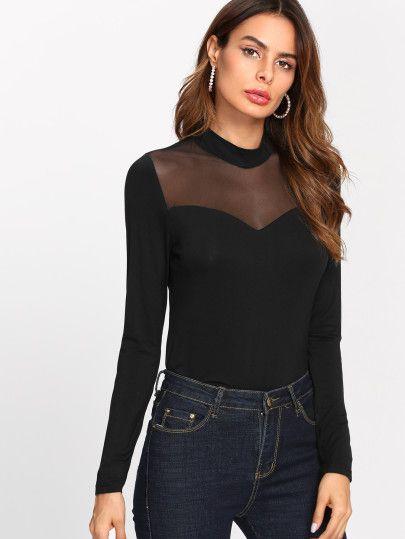 bien conocido ventas calientes venta online Camiseta de malla -Spanish SheIn(Sheinside)   t.gusa2017 en ...