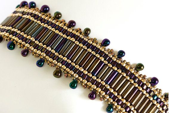 Beadwoven Brick Stitch Seed Bead Bracelet in Purple Iris Bugle Beads and Gold Plated Seed Beads - Bugle Bead Bracelet - Beaded Bracelet $30.00