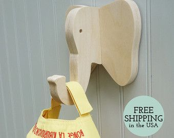 Wall hooks Rhino wall hook: playful wooden rhino by thejunglehook