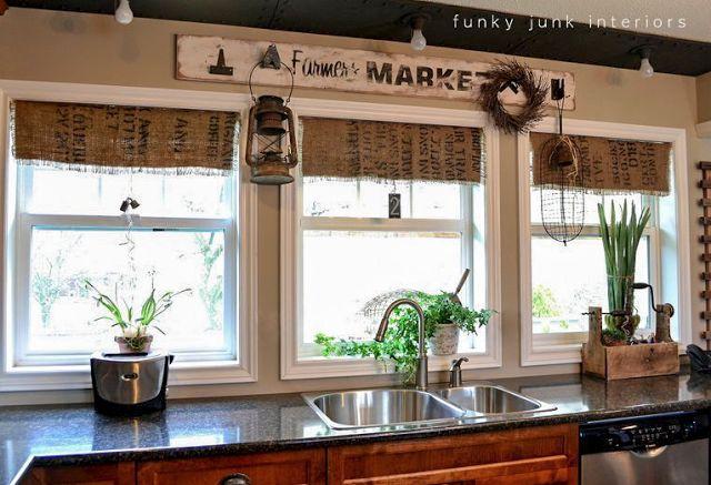 My $7.00 burlap coffee bean sack window shades - Funky Junk Interiors