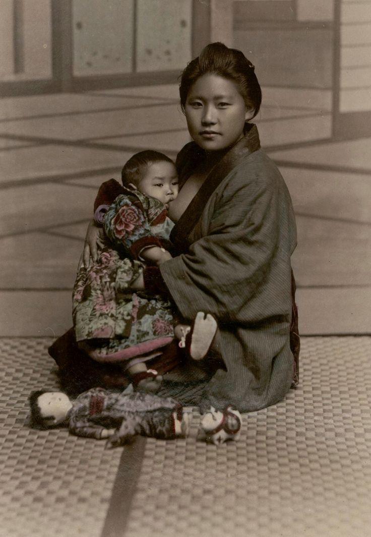 """Mom and Youngster"" Studio Shin-e-Do (Kobe, Japan). Images. 19th century. BO…"