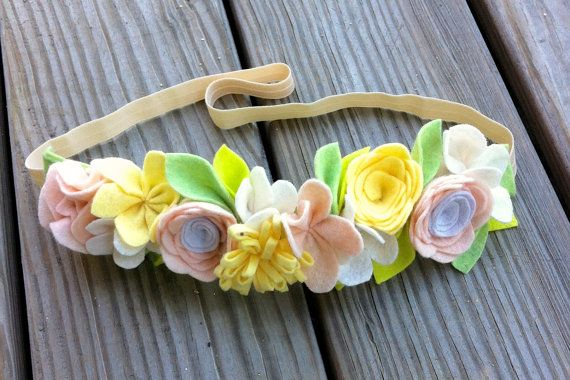 Felt Flower Crown // PeachYellow  White by fancyfreefinery on Etsy, $20.00