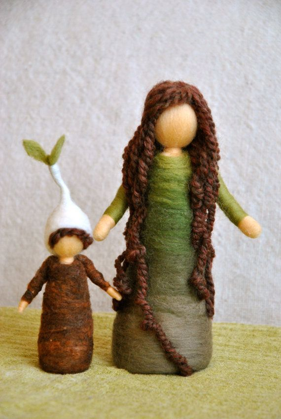 February ~ Mother Earth and Her Root Child ~ needle felted dolls