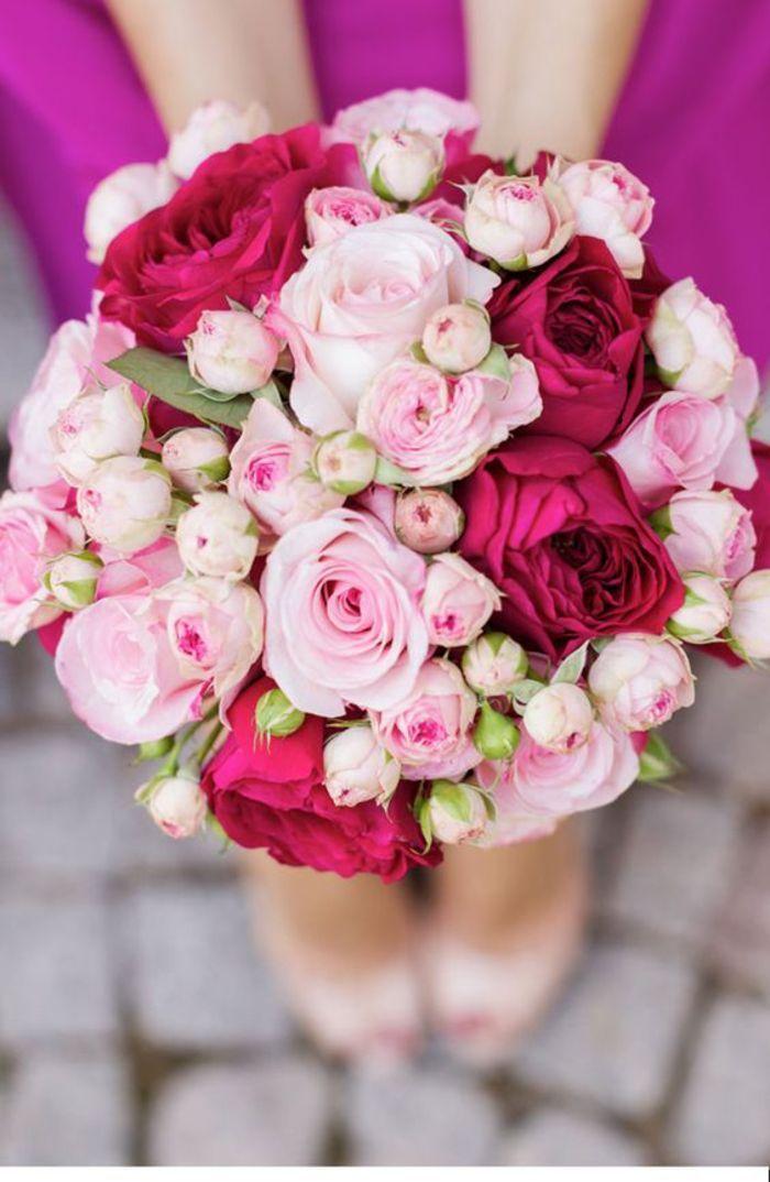ramo de novia redondo, rosas rojas y rosas, clásico ramo de novia