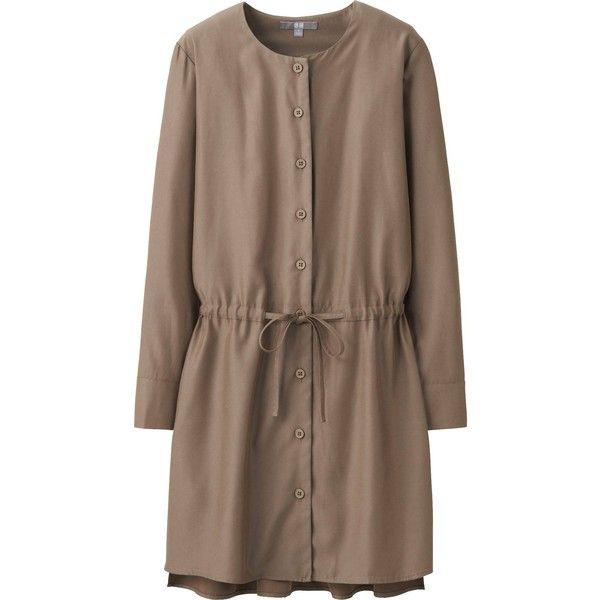 UNIQLO Women Rayon Long Sleeve Dress featuring polyvore, fashion, clothing, dresses, brown, sleeve dress, uniqlo, draped sleeve dress, long sleeve button dress and draped dress