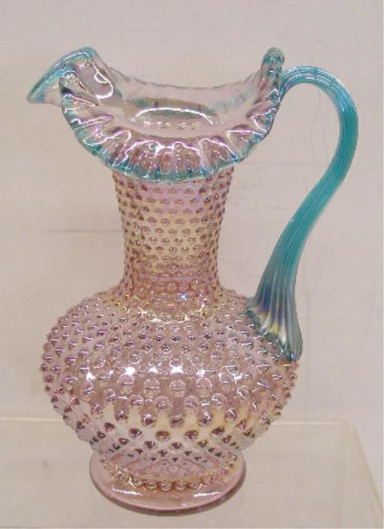 Fenton Glass Water Pitcher, unusual color combination,