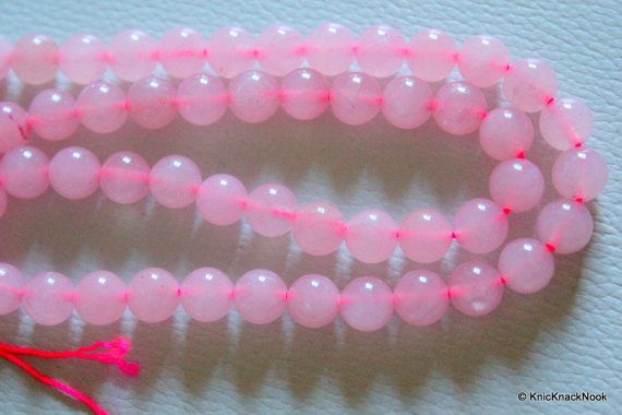 8mm Pink Rose Quartz Round Loose Beads Strand 15 by KnicKnackNook