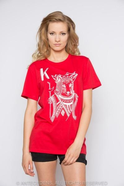 MASION KITSUNÉ King Print, Rot/Weiß, T-Shirt, Unisex @ antecedens.de