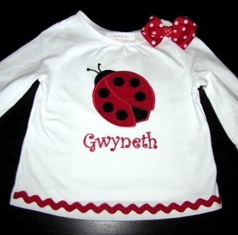 Girls Ladybug Shirt with Bow. $25.00, via Etsy. Cute for my Evie-bug!!