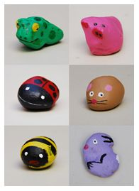 Rock animals-find the rocks, have kids paint the main color, you paint the details