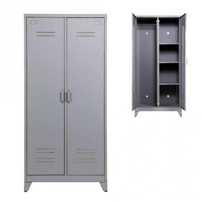 Kleiderschrank Spind Max 2 Turig Metall Grau Kleiderschrank Metall Kleiderschrank Schliessfacher
