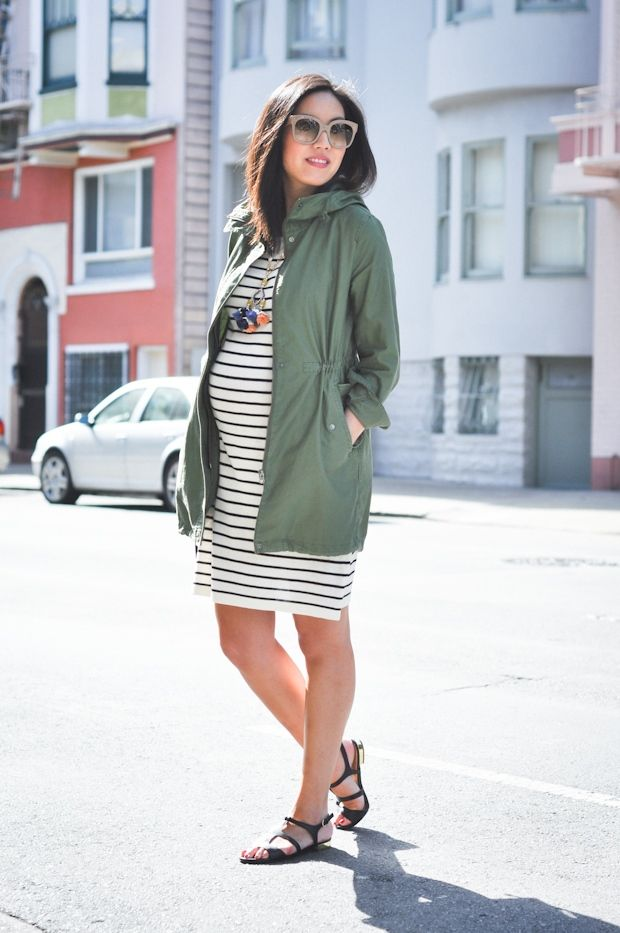 Spring Parka with stripes