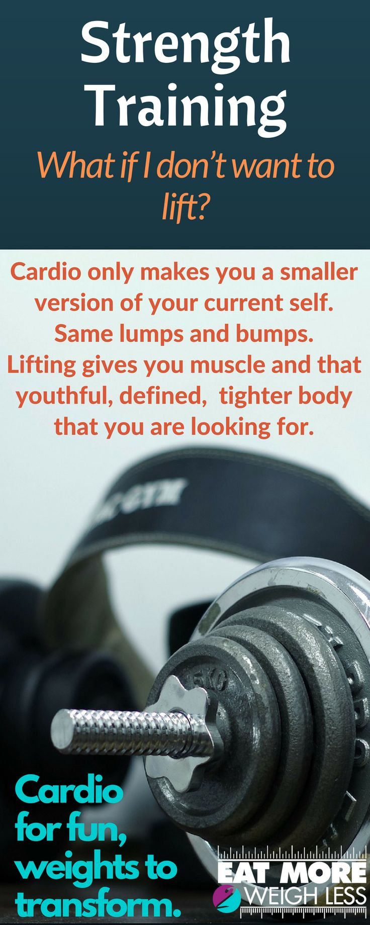 Are you in love with cardio but your body is not changing how you expected? Cardio for fun, weights to transform. It's time to give lifting as try! Lifting will not only keep that youthful tightness of the body, but also allow you to hit your goal WITHOUT having to lose so much weight. Visit for full article. #em2wl #metabolismreset #strengthtraining