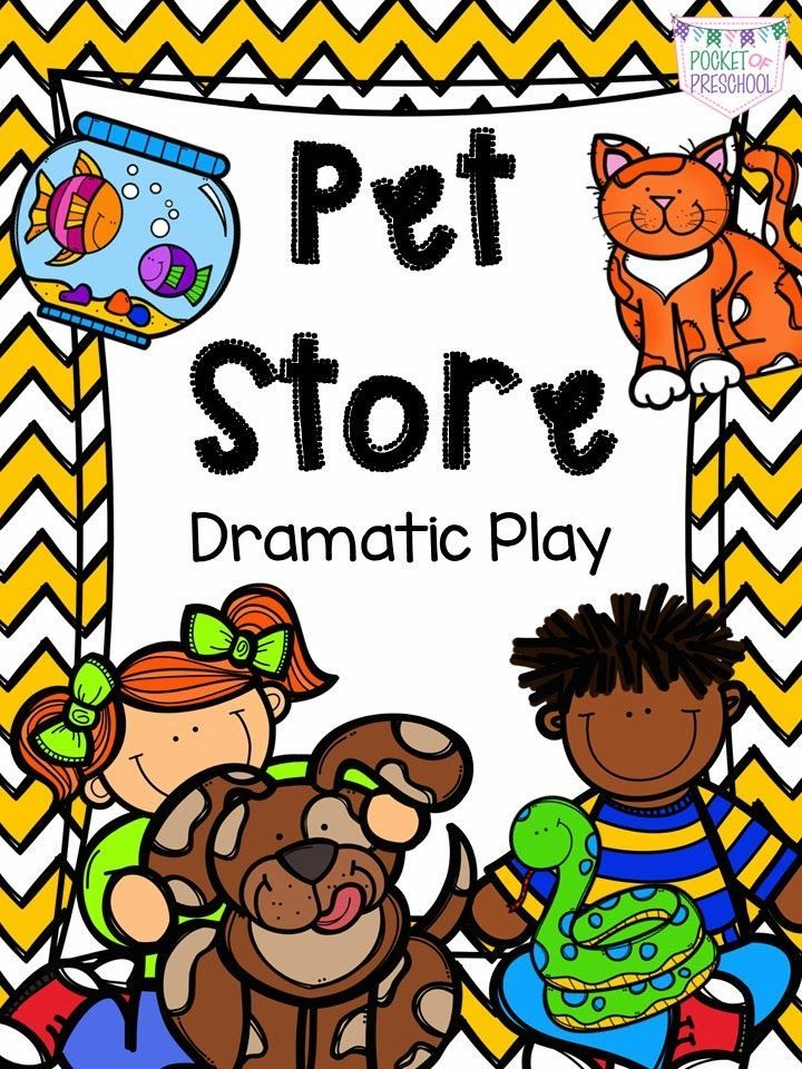 How to set up and create a Pet Store in the Dramatic Play Center in a preschool, pre-k, or kindergarten classroom with literacy and math activities embedded into the play!  Pocket of Preschool