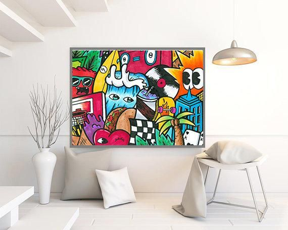 Wall Hanging Pop Art Wall Art Print Colorful Modern Wall Art Etsy Street Art Graffiti Graffiti Wall Art Etsy Wall Art