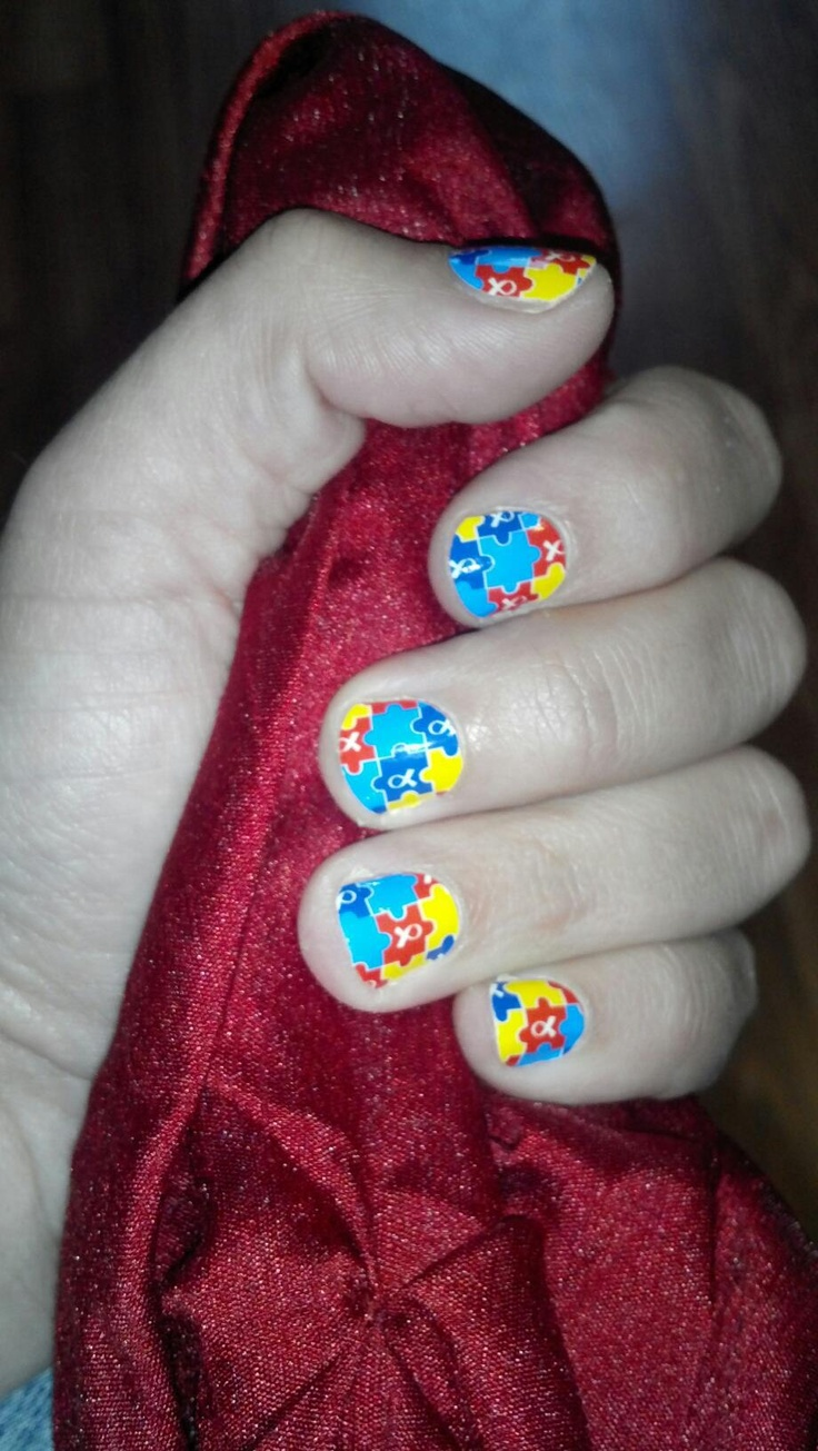Autism Awareness Nails! 2.00 of every sheet is donated to the cause!     BUY 3, GET 1 FREE! One sheet is 15.00 and has enough sheilds to do 2 or 3 sets of nails. They last 2-3 weeks on fingers and 4-6 on toes!   http://tamara.jamberrynails.net/