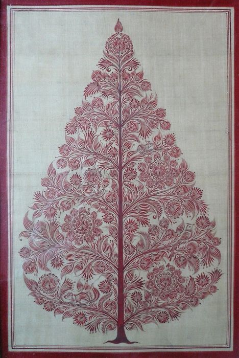 """""""Originating from an old tradition of engraved painting on palm leaves, these contemporary pieces are painted on silk by artists from a village in Orissa, India who are trained in this highly skilled technique."""""""