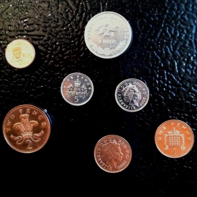 Currency magnets.  A great way to display souvenirs from our travels.