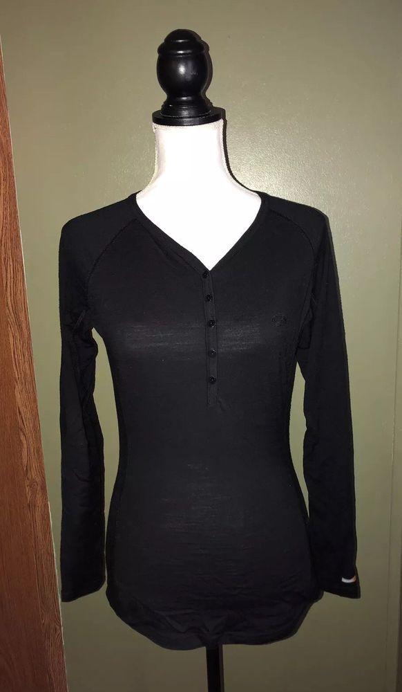 acbbb26788 Icebreaker Womens Bodyfit 200 Merino Wool Oasis Henley Baselayer Shirt Size  Med. | eBay
