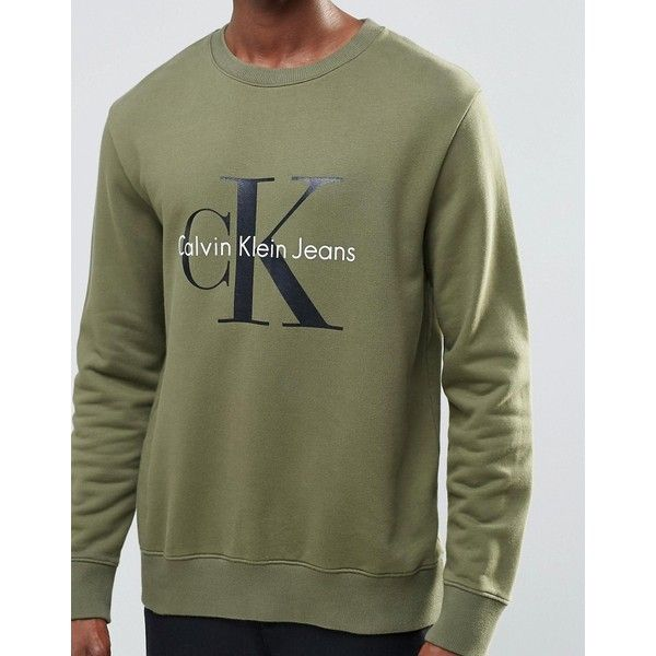 Calvin Klein Jeans 90s Sweatshirt in Khaki (155 CAD) ❤ liked on Polyvore featuring men's fashion, men's clothing, men's hoodies, men's sweatshirts, mens tall sweatshirts, mens crewneck sweatshirts and mens crew neck sweatshirts