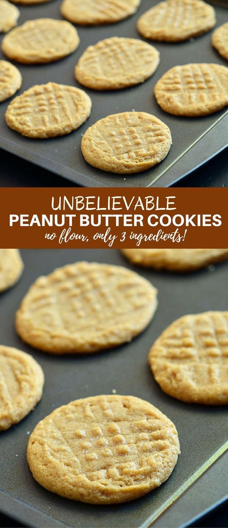 Unbelievable Three Ingredient Peanut Butter Cookies are so easy to make with only three ingredients and NO flour. With an intense peanut butter flavor, these gluten-free cookies are absolutely delicious! via @lalainespins