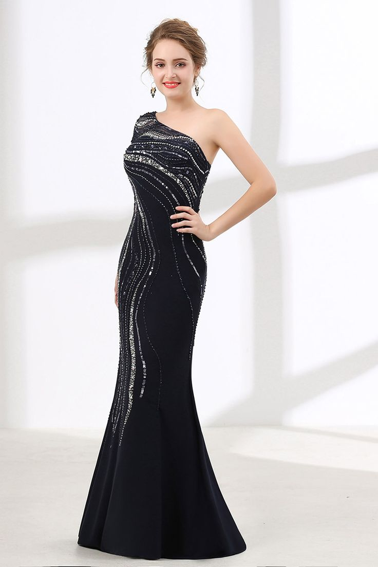 Only $199, Prom Dresses Shiny Sequin Black Fitted Prom Dress Mermaid With One Shoulder Sleeves #CH6617 at #GemGrace. View more special Special Occasion Dresses,Prom Dresses now? GemGrace is a solution for those who want to buy delicate gowns with affordable prices, a solution for those who have unique ideas about their gowns. 2018 new arrived, shop now to get $10 off!