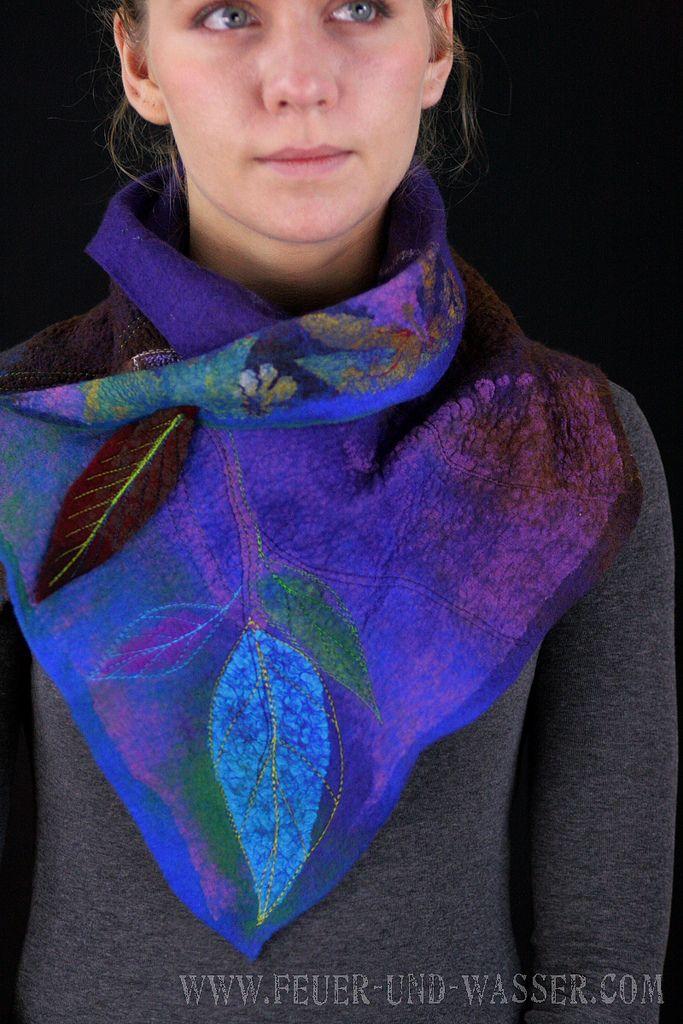 Nuno felted scarves - Felted Scarf - Felt Cowl - Nuno Felt Versatile Cowl - Crow Skull   Flickr - Photo Sharing!