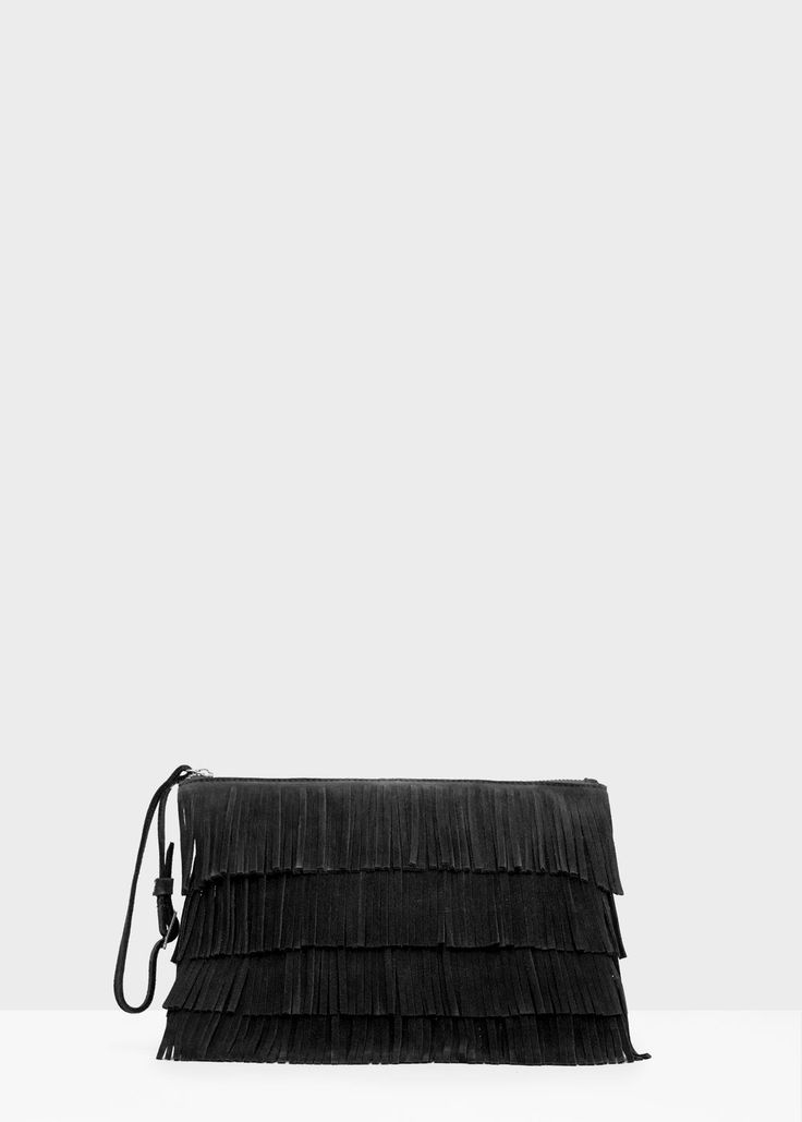 Leather fringes clutch | MANGO