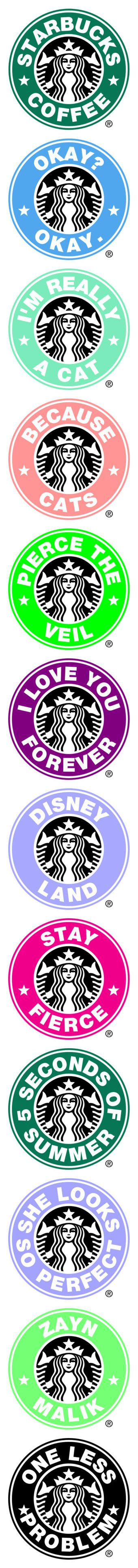 """Starbucks logo's"" by desyrae-carstensen ❤ liked on Polyvore featuring fillers, words, green fillers, logo's, pictures, starbucks logos, backgrounds, other, starbucks and bands"