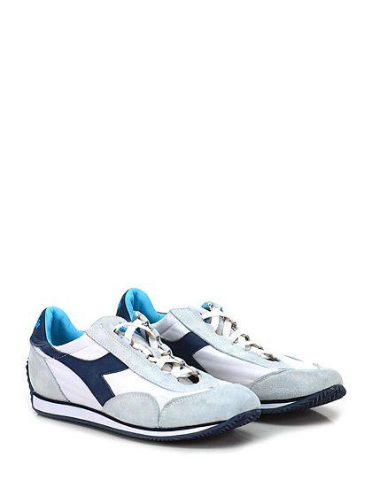 DIADORA Heritage - Sneakers - Uomo - Sneaker in tessuto e camoscio effetto vintage con suola in gomma. Tacco 15. - WHITE\BLU - € 155.00