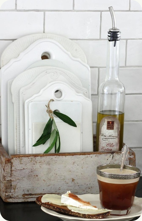 White porcelain cutting board | KITCHEN :: Collection of vintage white ceramic cutting boards.