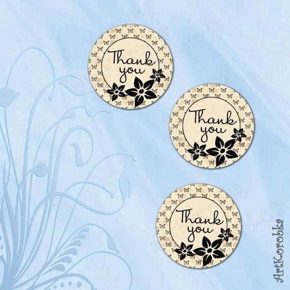 Flower Round THANK YOU cards  Flower Thank You Tags  by Artkorobka