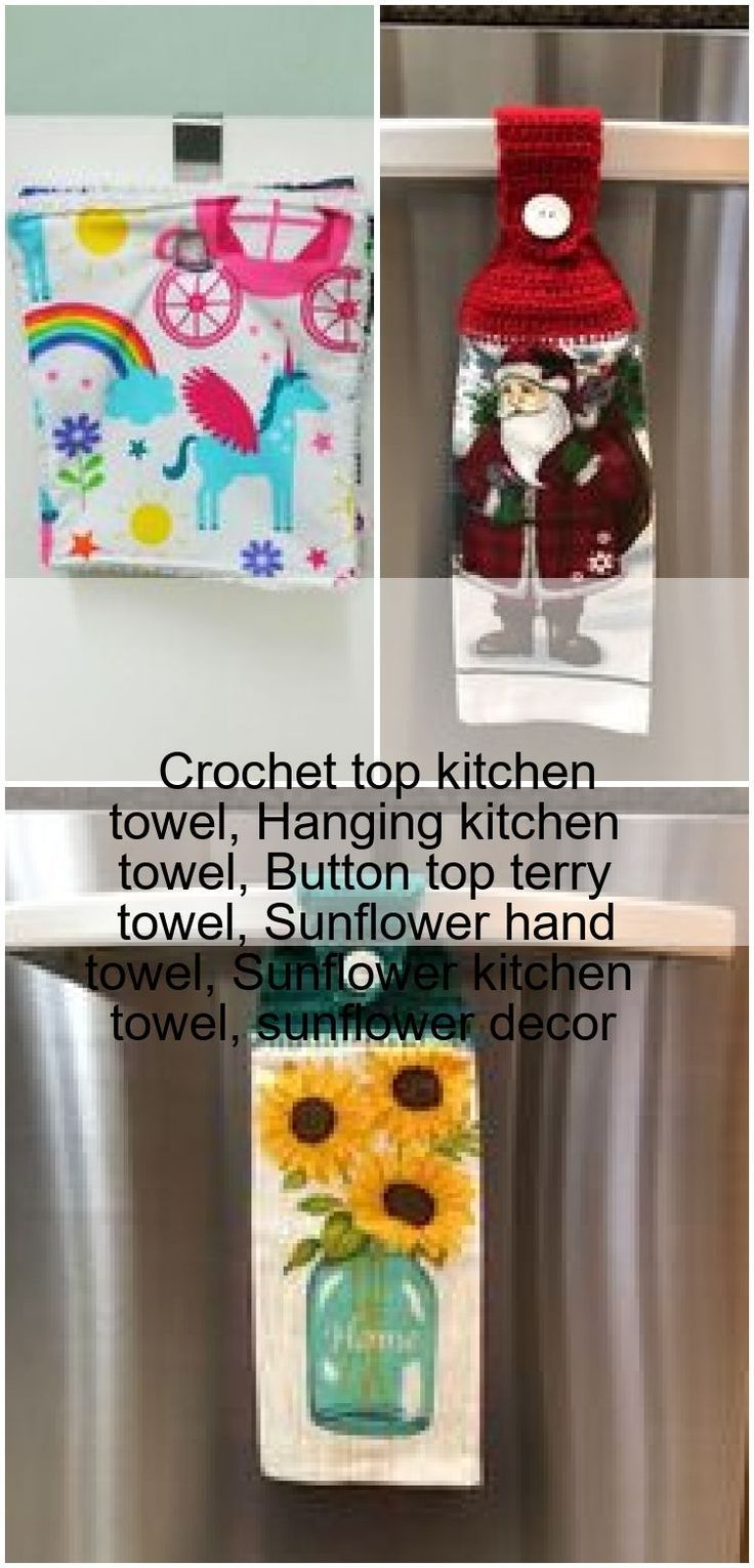 Crochet Top Kitchen Towel Hanging Kitchen Towel Button Top Terry