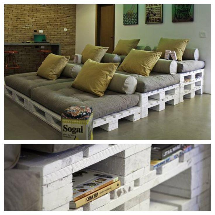 DIY stadium seating made with repurposed wood pallets. Add an overhead projector and I'm sold.